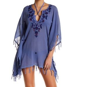 LETARTE Embroidered Tassel Beach Tunic/Cover Up
